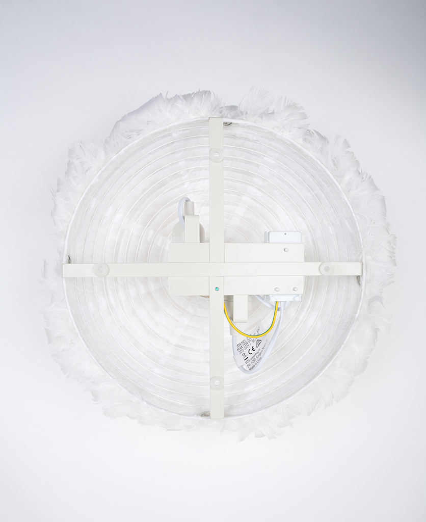 rear view of umage feather wall light fixings against white background