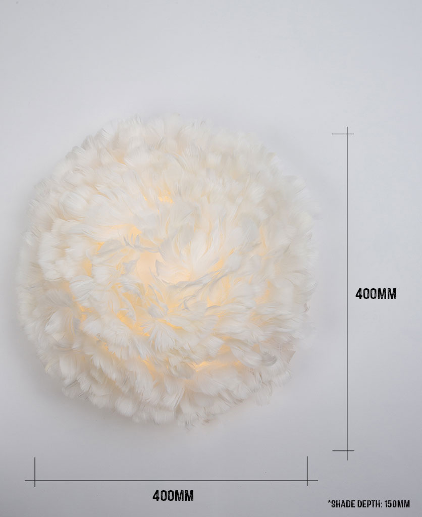 umage feather wall light against white background with dimensions