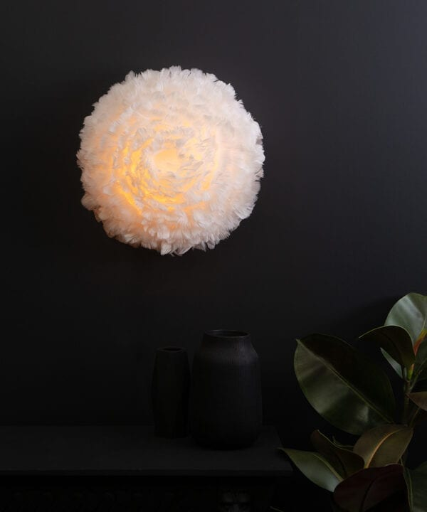 eos up umage feather wall light white on black background