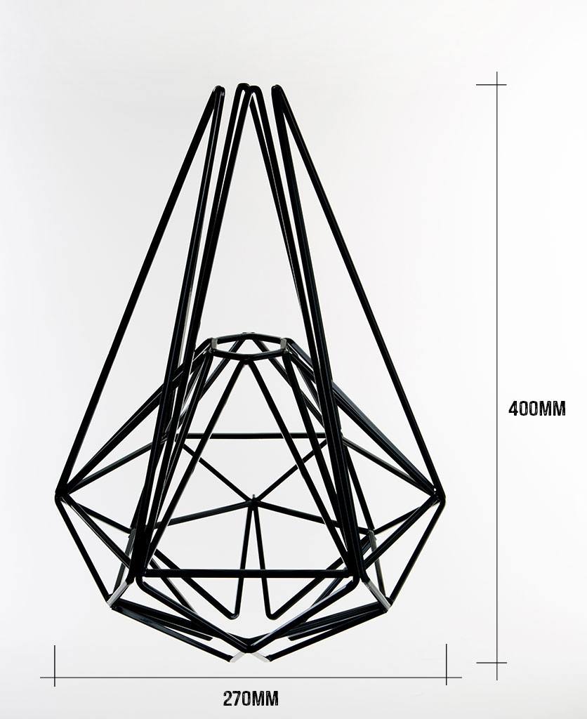 black large cage light shade on white background with dimensions