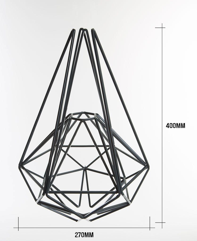 grey large cage light shade on white background with dimensions 400mm high by 270mm wide against white background
