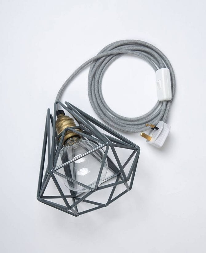 Earl Grey Metal Cage Table Lamp Clear Bulb