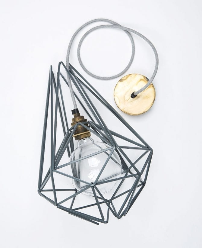 earl grey cage pendant light flat lay