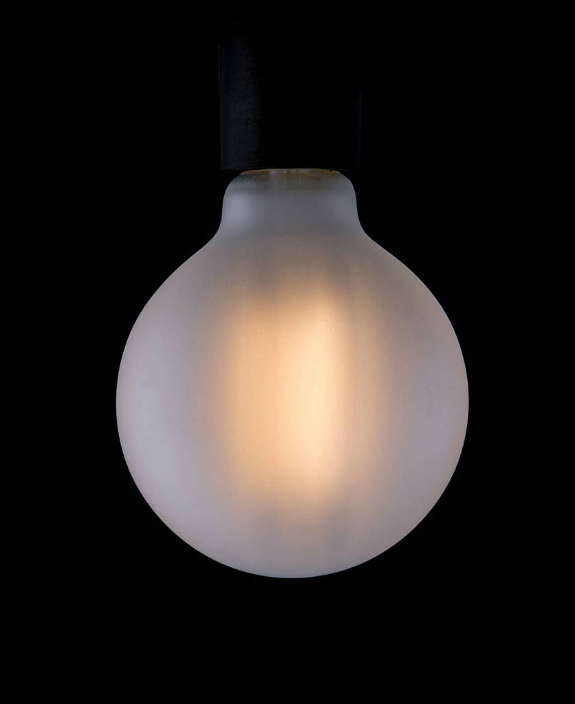 large led frosted light bulbs with squirrel cage filament globe squirrel cage filament against black background