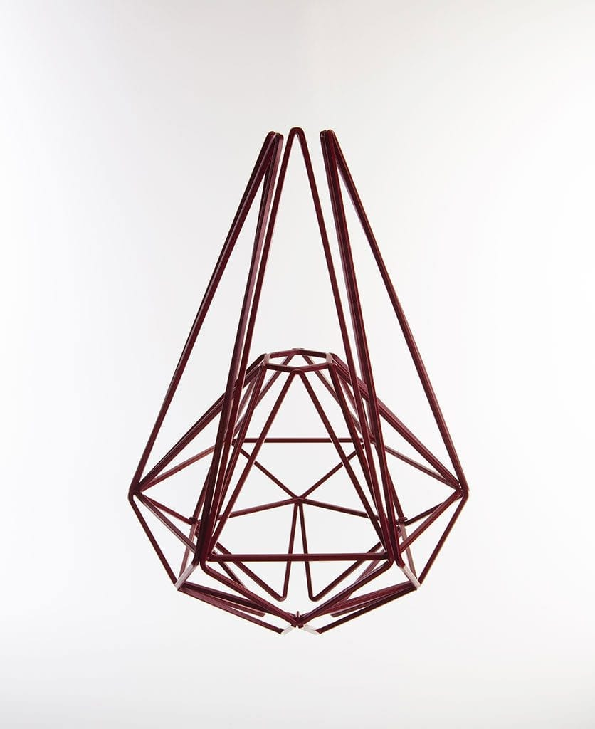 hibiscus geometric cage light shade large against white background