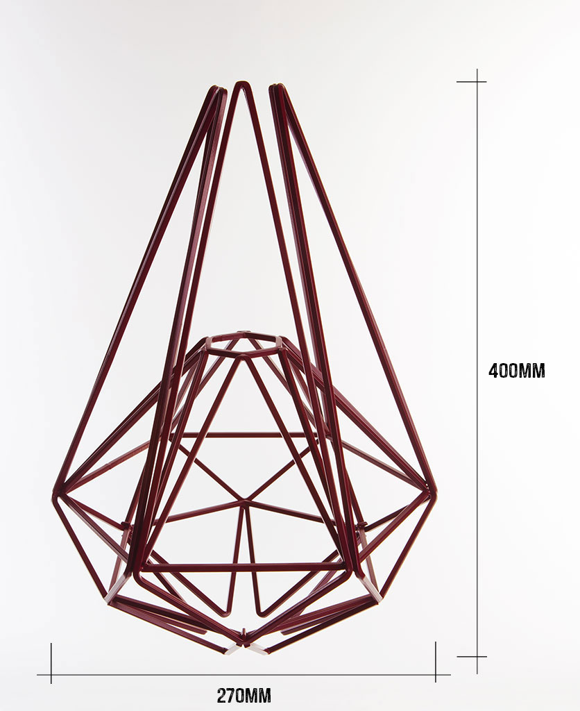 hibiscus large cage pendant light dimensions 400mm high by 270mm wide against white background