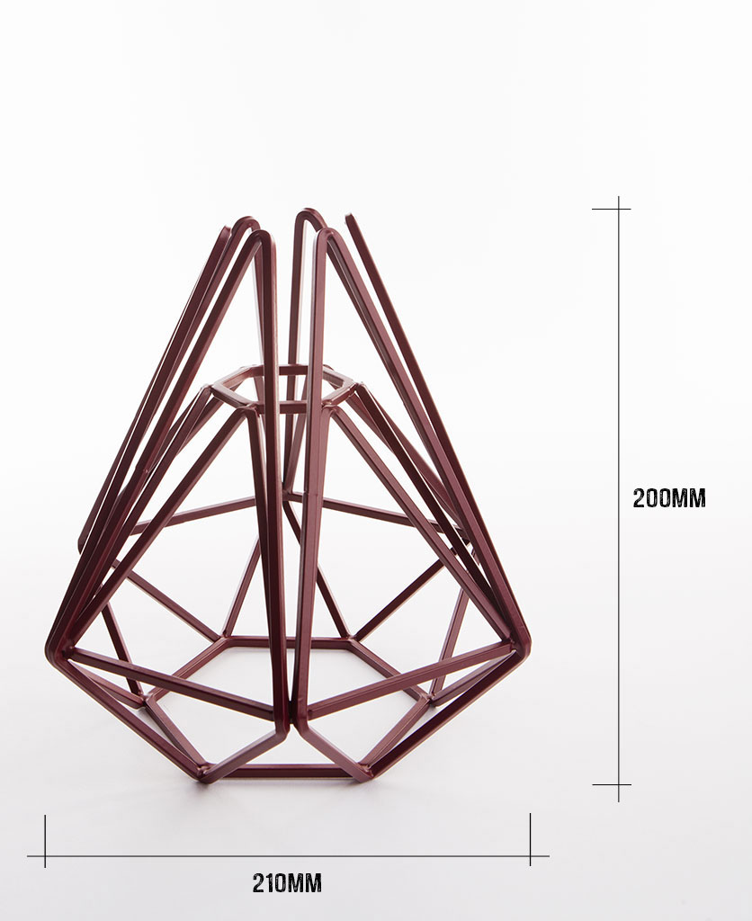 Burgundy cage table lamp shade on white background with dimensions height 200m width 210mm