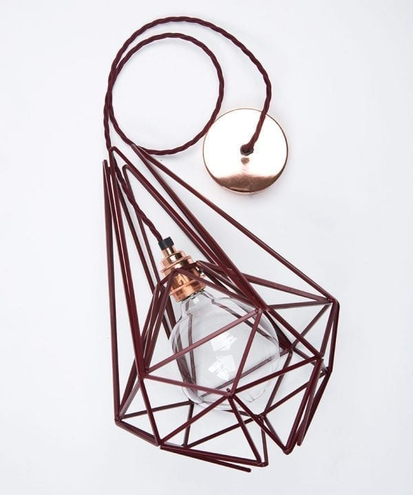 hibiscus cage pendant light flat lay