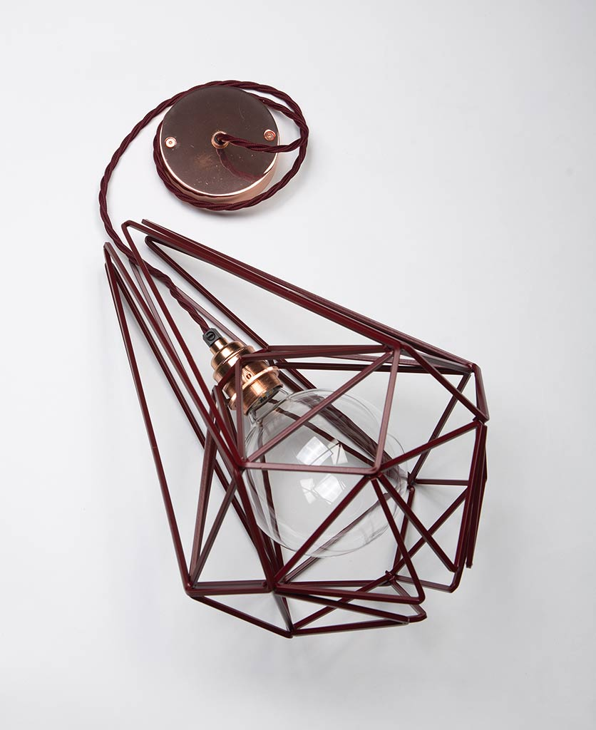 large hibiscus metal light shade with copper bulb holder clear bulb red fabric cable and copper ceiling rose on white background