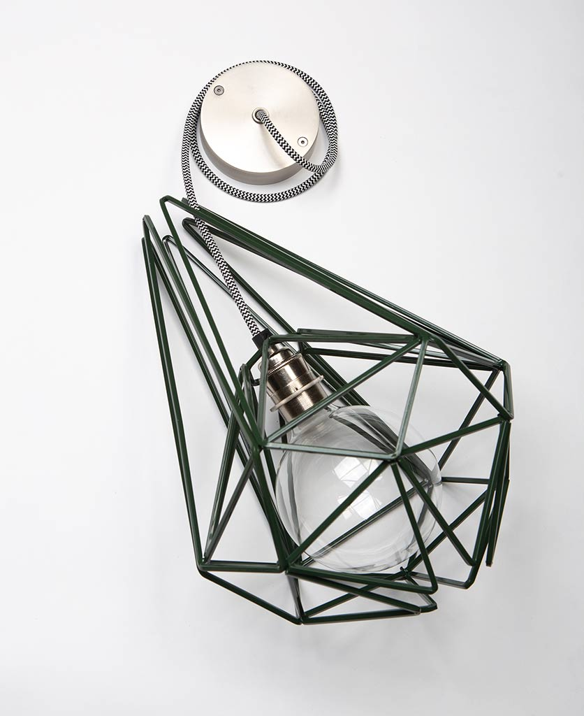 large matcha metal cage light with silver bulb holder clear bulb black & white fabric cable and silver ceiling rose on white background