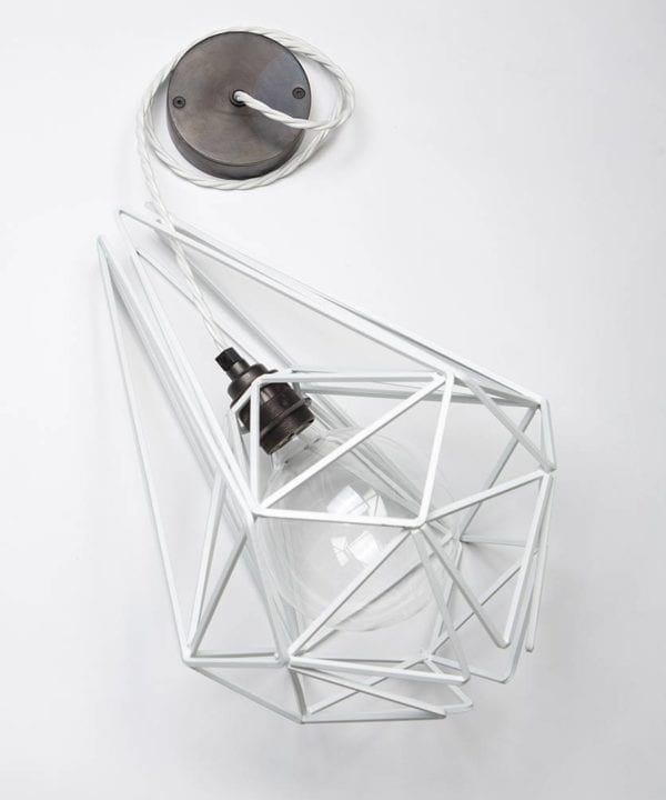 White Oolong Cage Pendant Light
