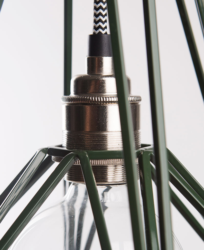 matcha cage pendant light closeup of green cage light shade and silver bulb holder