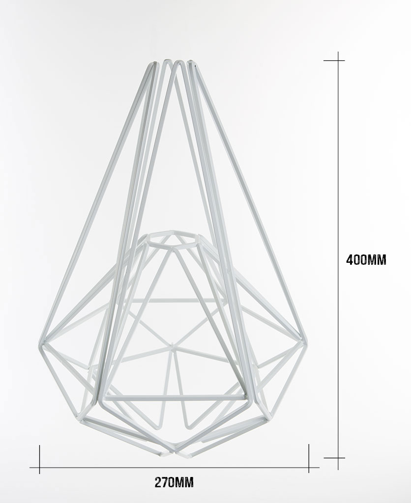 white large cage light shade on white background with dimensions 400mm high by 270mm wide against white background