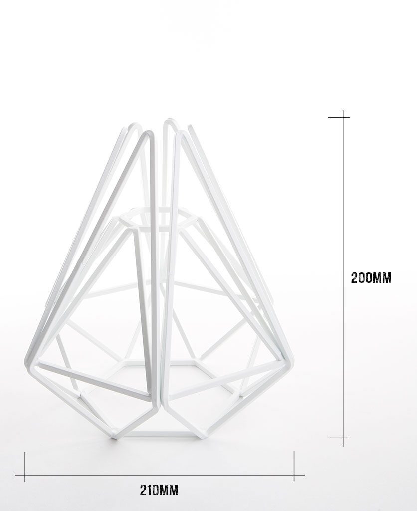 White cage table lamp shade on white background with dimensions height 200m width 210mm