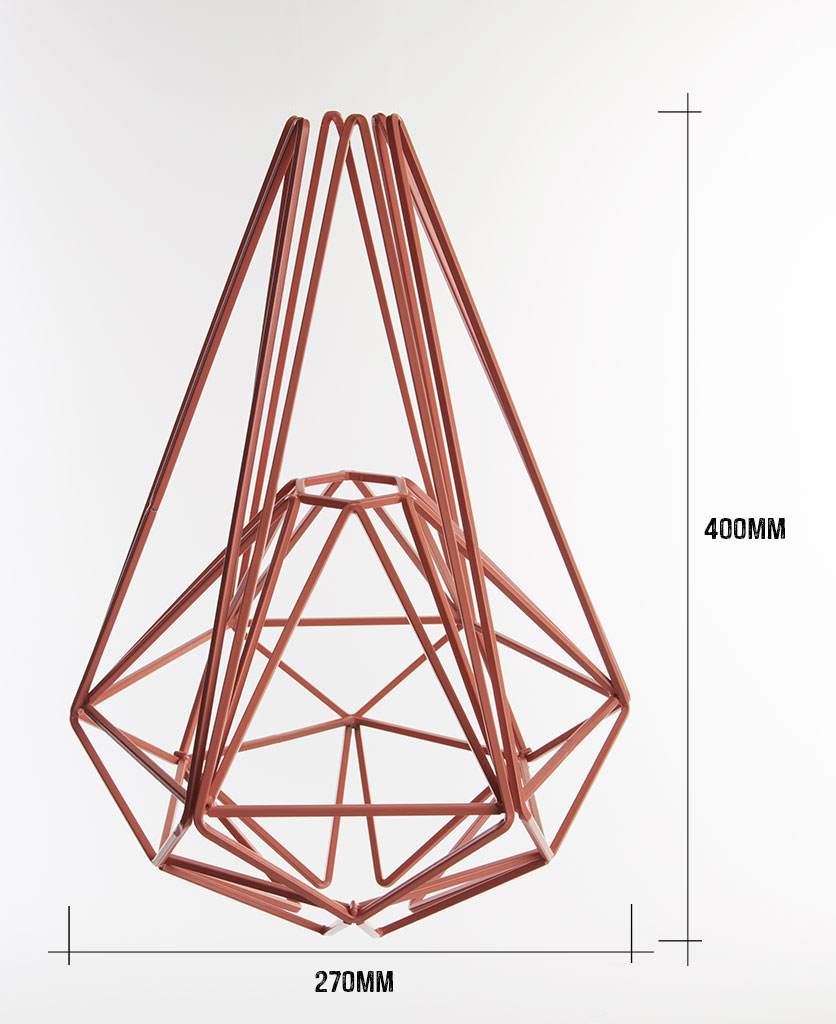 pink large cage light shade on white background with dimensions 400mm hight by 270mm wide against white background