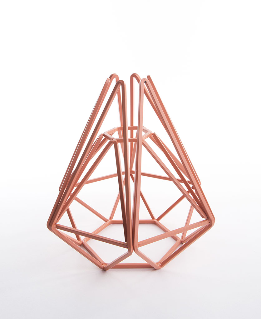 pink chai cage light shade small against white background