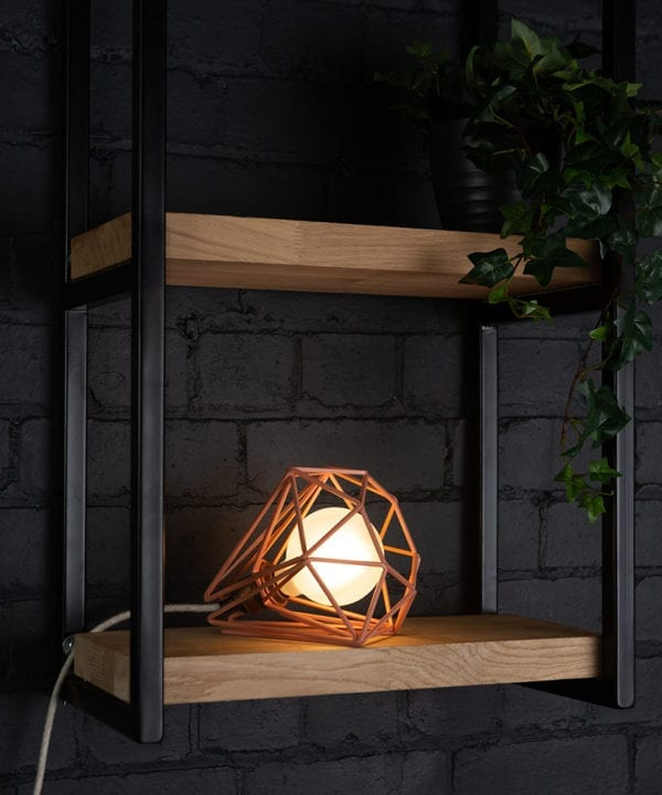 Pink cage shade table lamp on wooden shelf with frosted bulb switched on