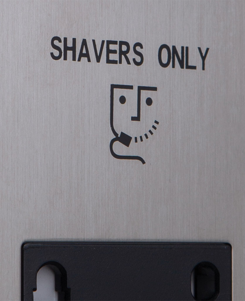 closeup of silver and black shaver socket