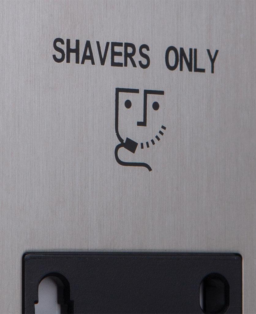 closeup of silver and black shaver socket