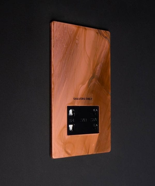 Tarnished Copper Shaver socket black insert against black background