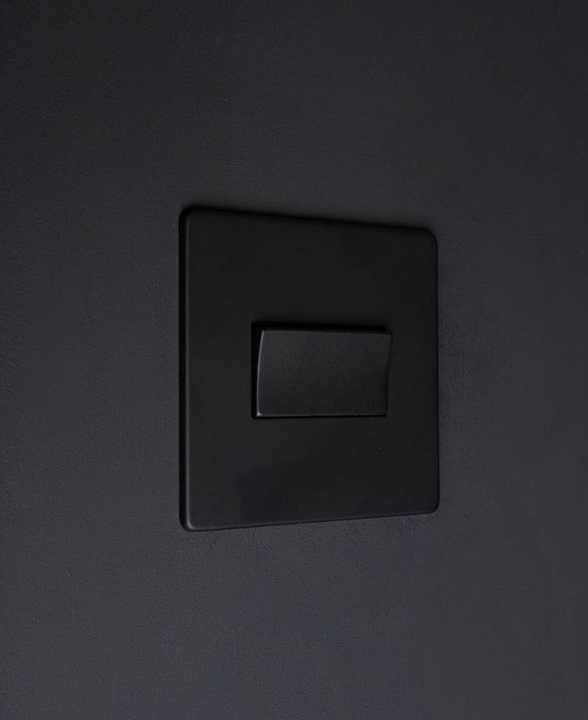 black & black triple pole fan switch on black wall
