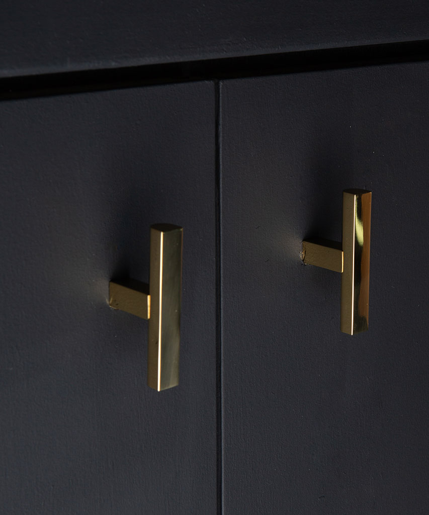 taipei brass t-bar handle on black cupboard