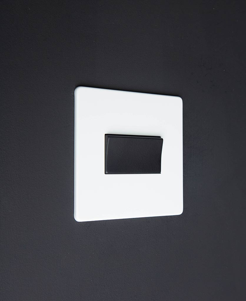 white and black fan switch against black background