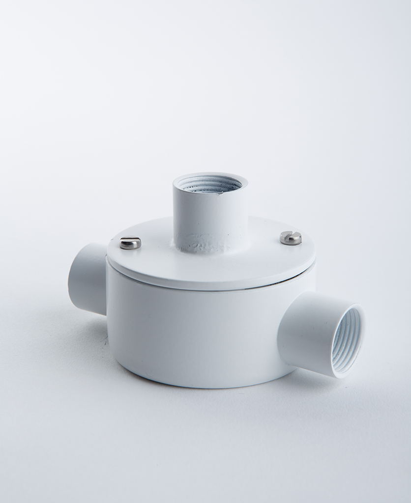 white 2 entry conduit with adapter