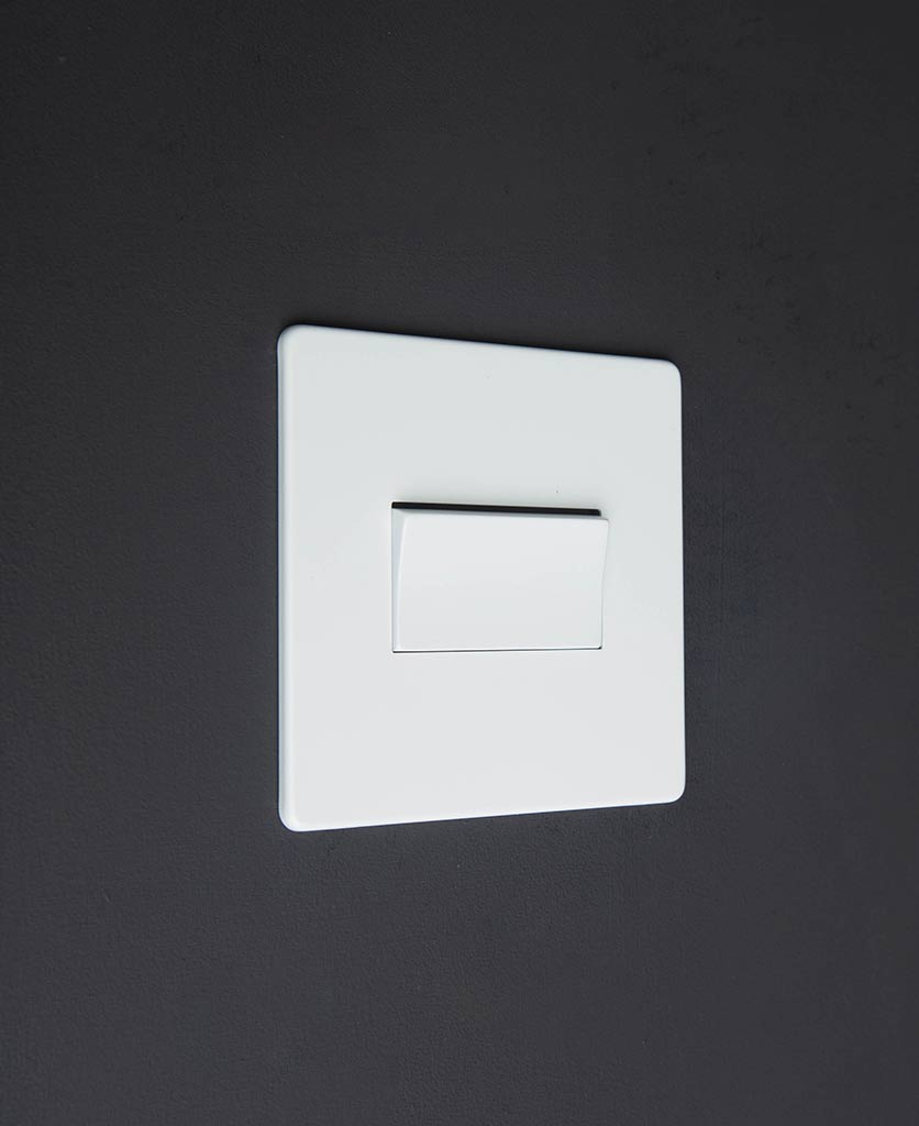 white fan switch against black background