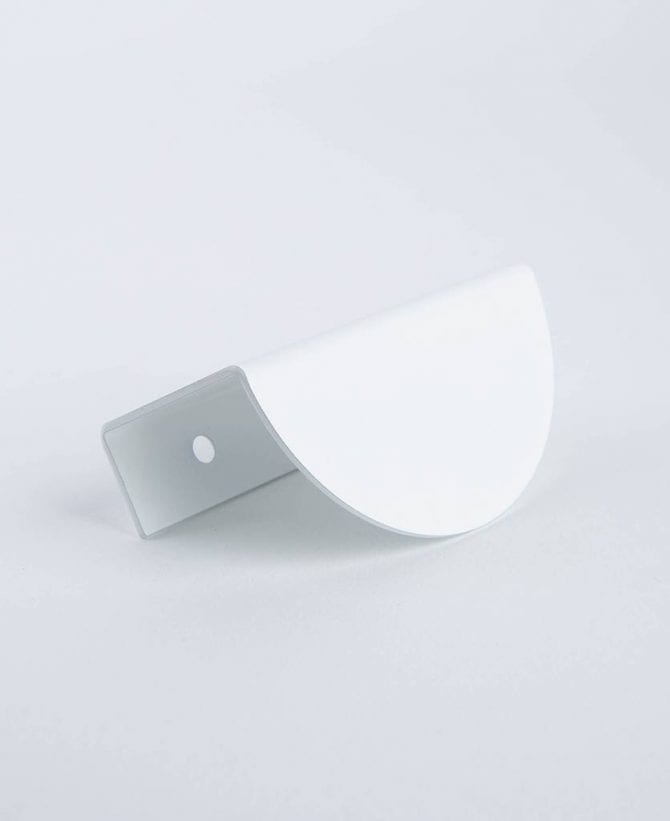 white mezzaluna drawer and door pull