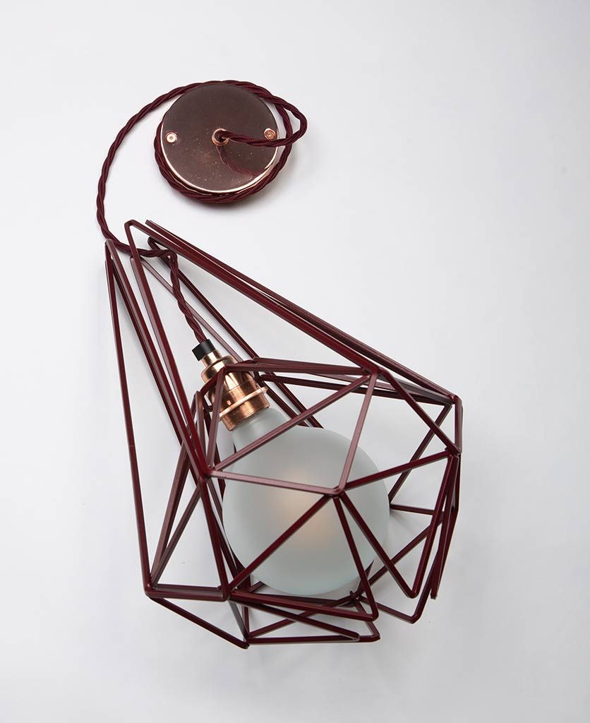 large hibiscus metal light shade with copper bulb holder frosted bulb red fabric cable and copper ceiling rose on white background