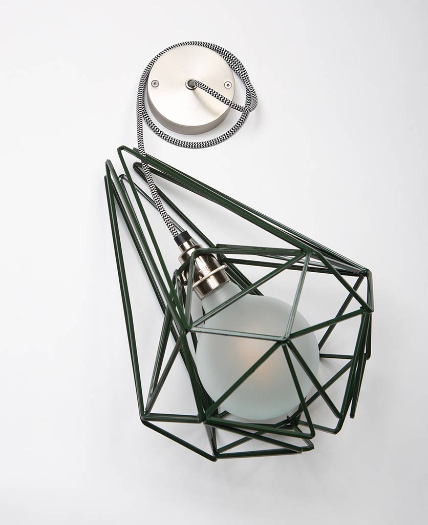 large matcha metal cage light with silver bulb holder frosted bulb black & white fabric cable and silver ceiling rose on white background
