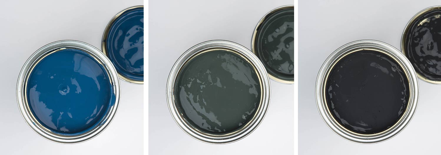 collage of three paint tins; spruce things up dark green paint, all the lights off black paint and in deep water blue paint