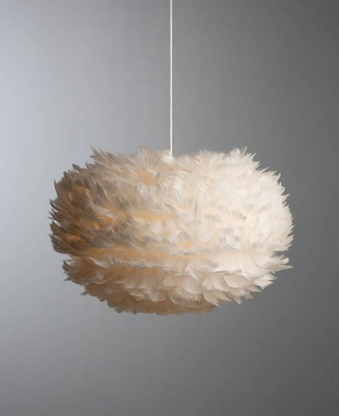 Vita Umage feather pendant light with white cord set