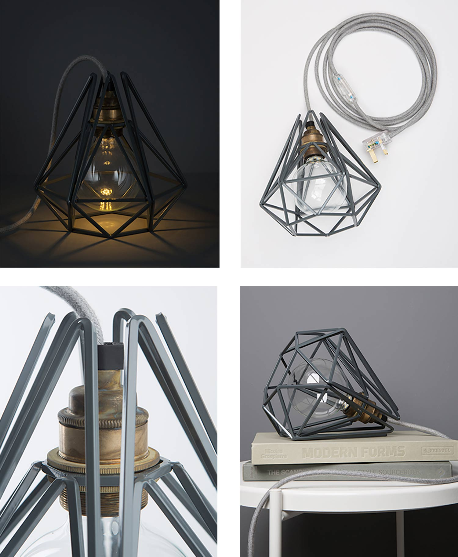 collage of earl grey cage table lamp