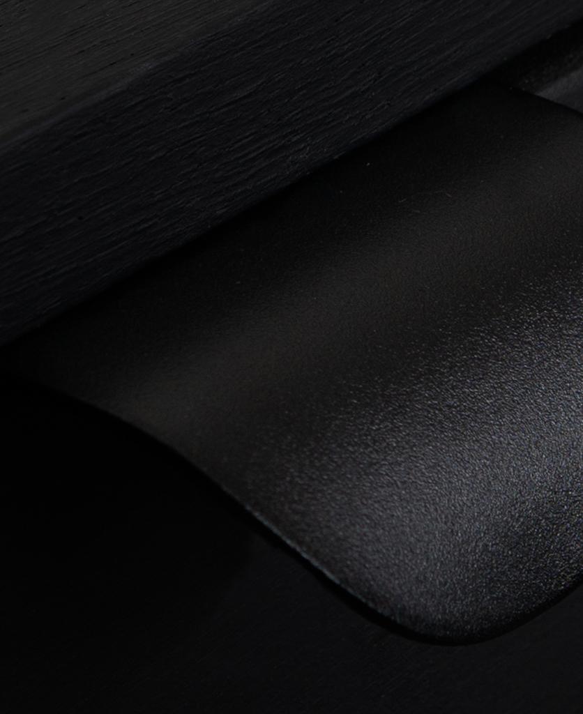 closeup of black metal pull handle on black drawers