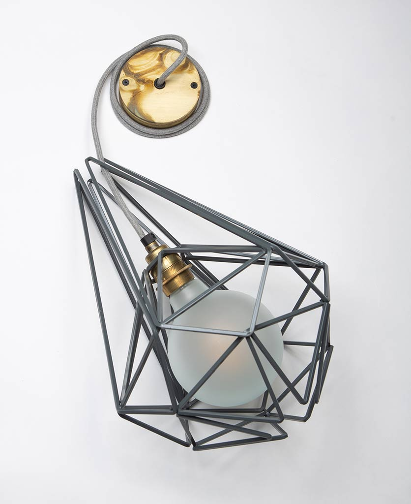 large earl grey cage ceiling light with smoked gold bulb holder frosted bulb grey felt fabric cable and smoked gold ceiling rose on white background