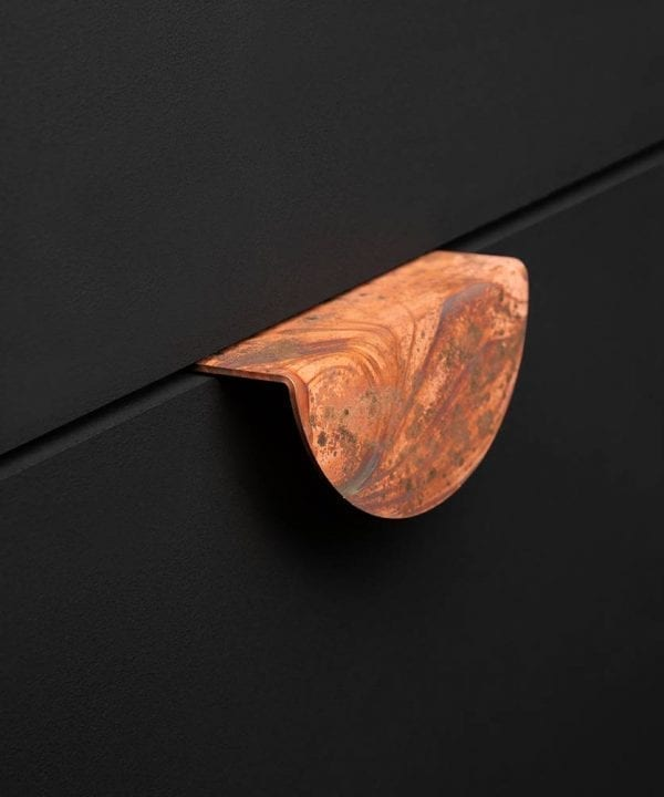 Mezzaluna tarnished copper metal handle