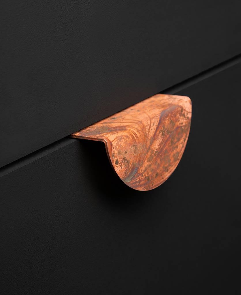 Mezzaluna tarnished copper metal handle