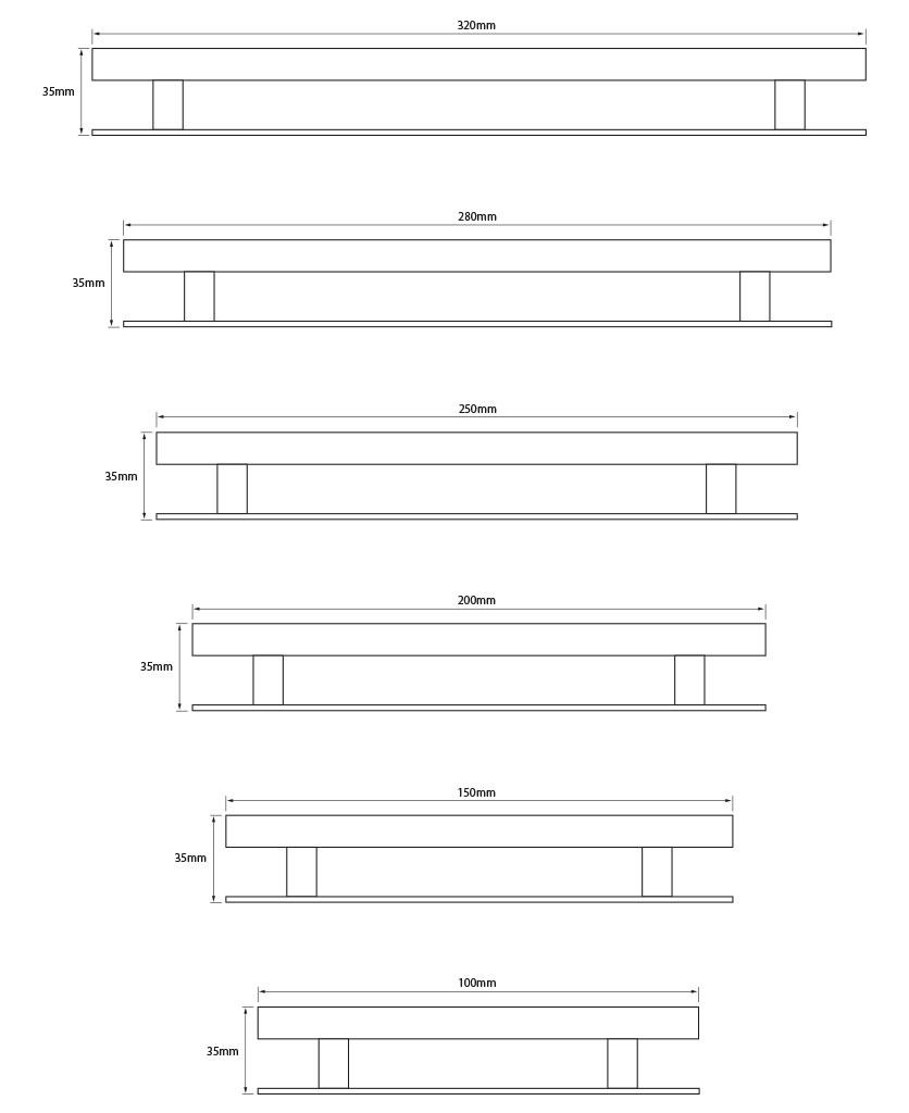Metal Skyscraper handle dimensions