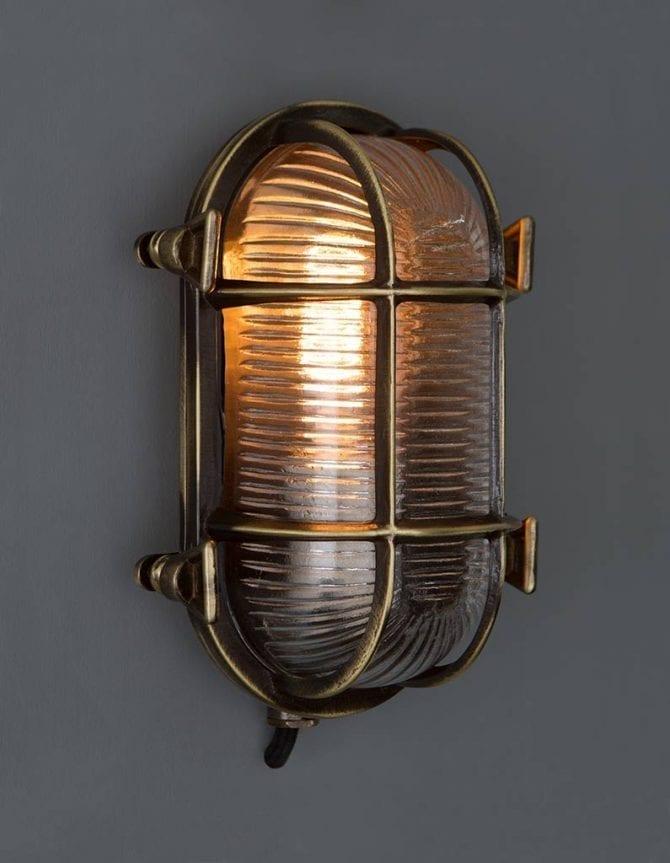 Steve Aged Brass Bulkhead Lamp
