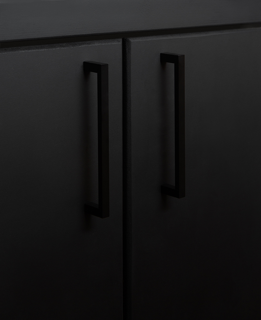 black taipei kitchen door handle on black cupboard