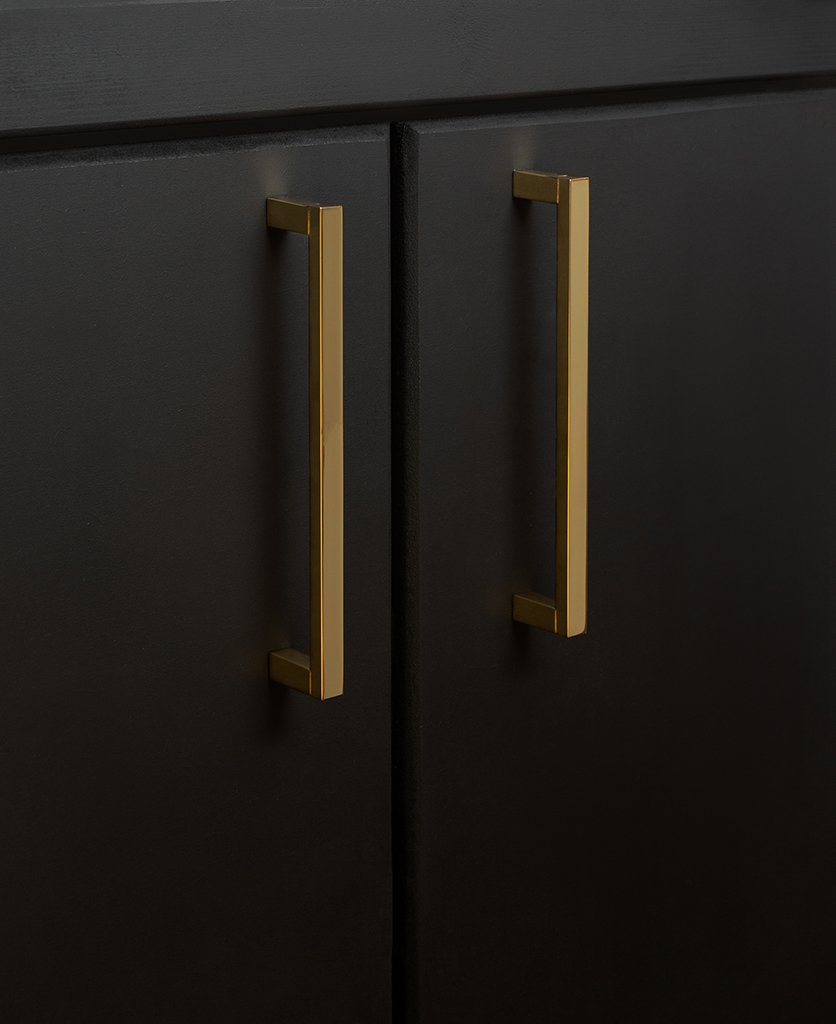 gold taipei kitchen door handle on black cupboard