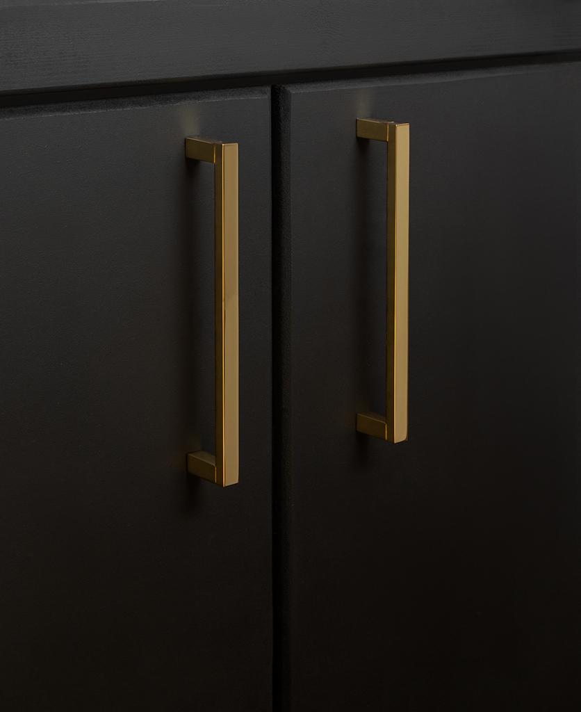 gold taipei kitchen door handle on black cupboard