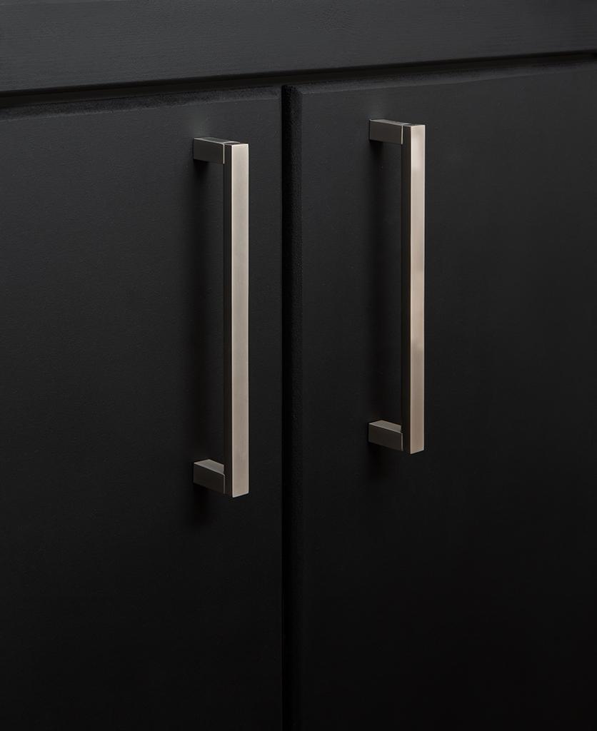 silver taipei kitchen door handle on black cupboard