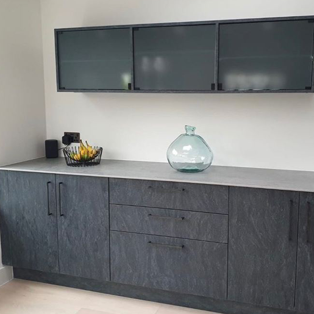 taipei black handles on dark grey cupbaords and drawers in grey and white kitchen