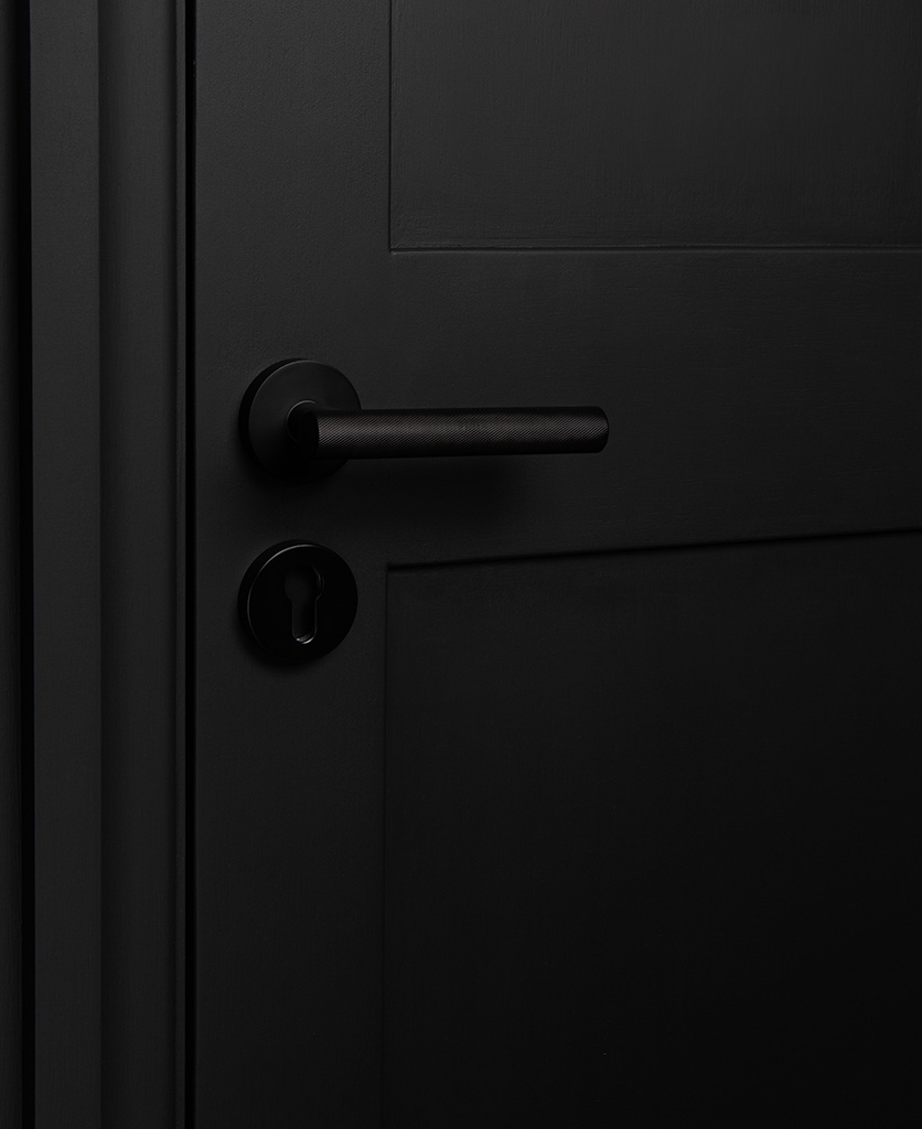 black modern door handle with escutcheon on black door