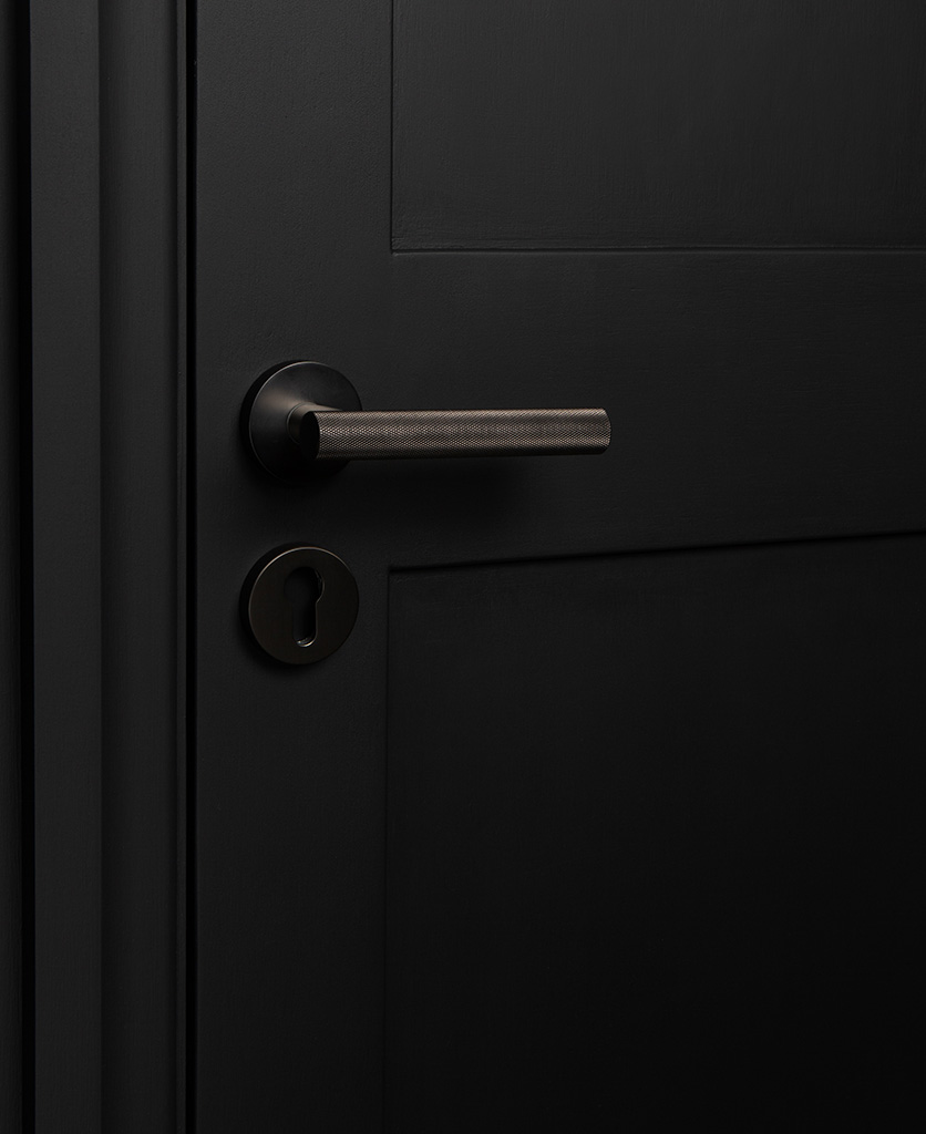graphite modern door handles with escutcheon on black door