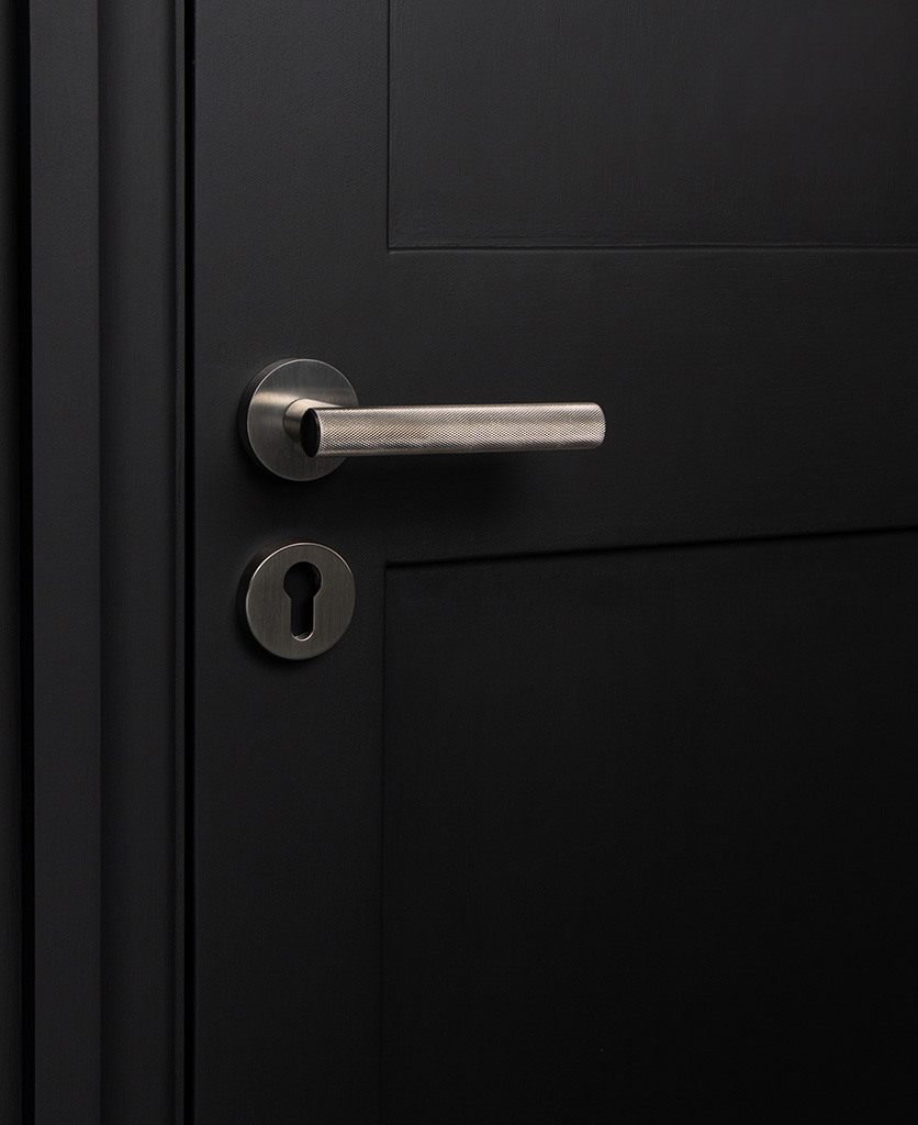 silver modern door handles with escutcheon on black door