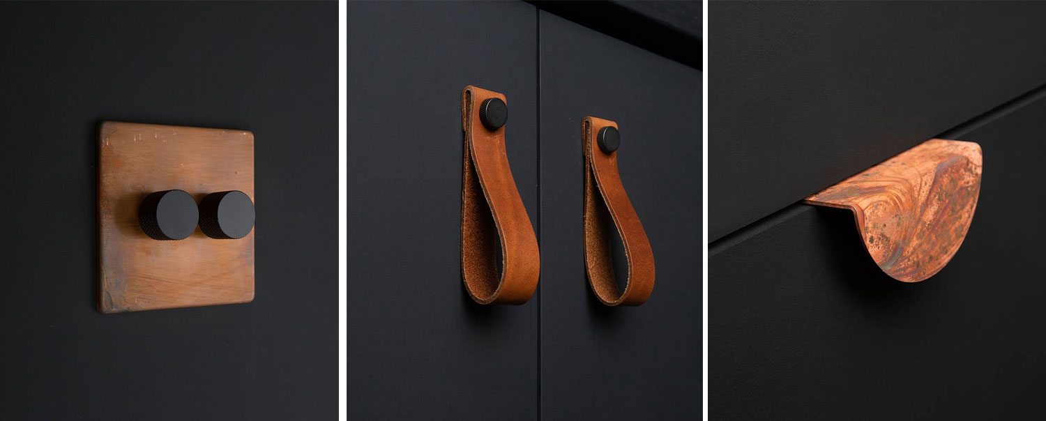 trio of image; tarnished copper and black double dimmer, tan magni handles and mezzaluna tarnished copper handle